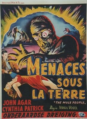 """LE PEUPLE DE L'ENFER (THE MOLE PEOPLE)"" Affiche entoil. Virgil VOGEL, John AGAR"