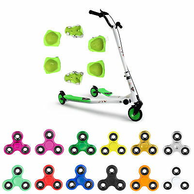 FoxHunter New Kids 3 Wheels Tri Motion Slider Winged Push Scooter Drifter Green