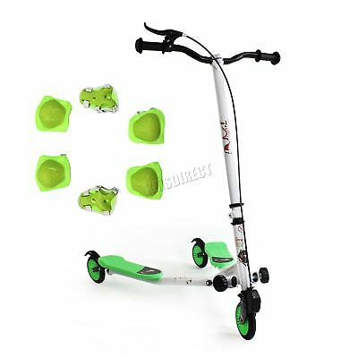 FoxHunter Kids 3 Wheel Mini Tri Slider Motion Winged Push Scooter Green Drifter