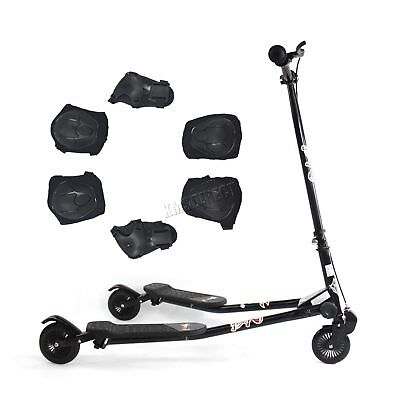 FoxHunter Kids 3 Wheel Mini Tri Slider Motion Winged Push Scooter Black Drifter