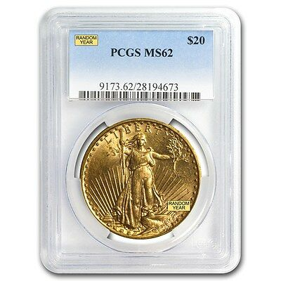 $20 Saint-Gaudens Gold Double Eagle Coin - Random Year - MS-62 PCGS - SKU #7222