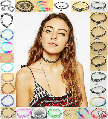 new Vintage Stretch Tattoo Choker Necklace Retro Gothic Punk 80s 90s Multi Choic