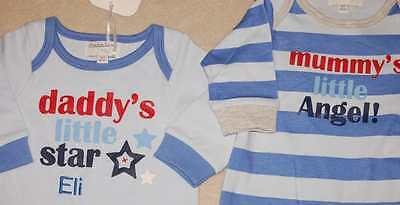 Personalised For You Embroidered Baby Cute Slogan Sleepsuit 2 Styles 4 Sizes