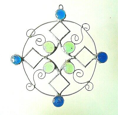 Blue/green/clear Star stained glass suncatcher window wall decoration gift