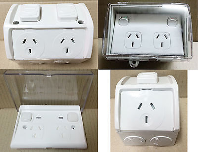Power Point Weatherproof Socket GPO Outlet Powerpoint Weather Proof Clear Slim