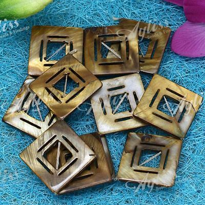 Strand Bronze Color Shell Mother Of Pearl Hollow Square Loose Spacer Beads Craft
