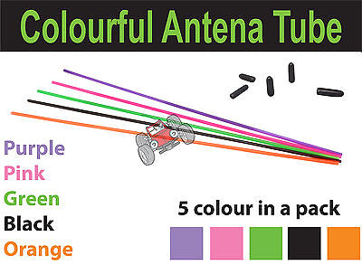 RC Car Colourful Antenna Tube With Caps - 5 Pieces