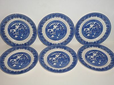 """Vintage Set 6 Alfred Meakin England Old Willow Plates, 8"""""""
