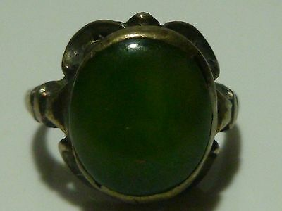 Art Nouveau Deco Possible Jadeite Sterling Silver Chinese Ring Size 5.85