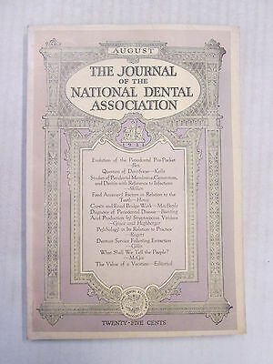 1921 August THE JOURNAL OF THE NATIONAL DENTAL ASSOCIATION 68 Pages Old Ads