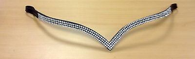 """New Designer Ve Shaped 3 rows Clear Crystal Browband full - 16"""" Brown on sale"""