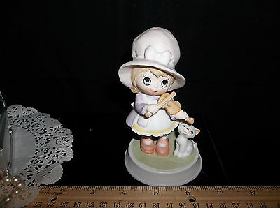 Porcelain Figurines of Little Girl with Fiddle and Cat  By George 5 inches tall