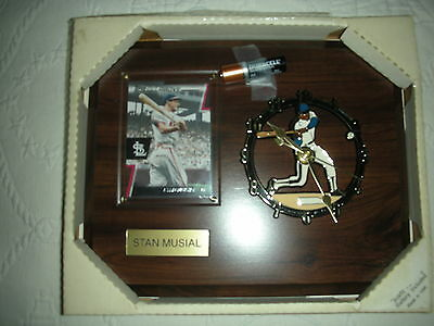 STAN MUSIAL PLAQUE, CLOCK, ST LOUIS CARDINALS, NEW BATTERY, NEW CONDITION