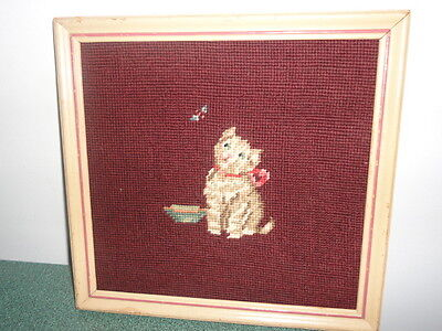ANTIQUE NEEDLEPOINT PICTURE OF CAT WITH BOWL UNIQUE L@@K
