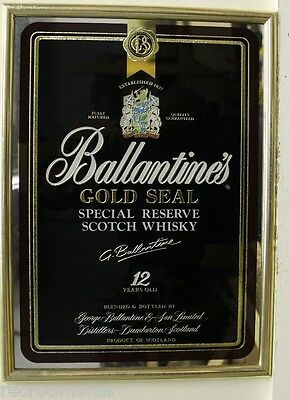 Ballantines Gold Seal 12 Year Scotch Whiskey Bar Mirror Brand New