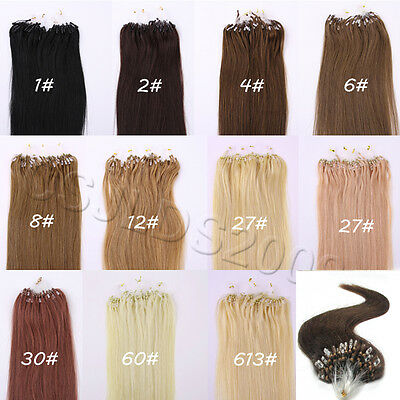 """100S Easy Micro Loop Ring Beads Remy Human Hair Extensions 18"""" 20"""" 22"""" Real Hair"""