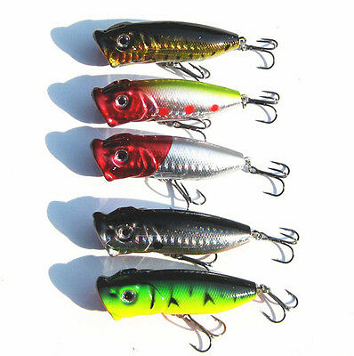 5PCS Topwater Popper Minnow Freshwater Fishing Lures Bass Hook Bait Crankbait