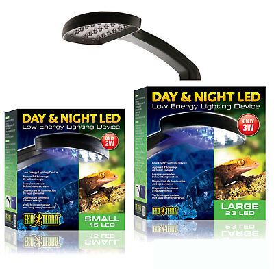 Exo Terra Day & Night LED Light Fixture Small Large Reptiles Amphibians