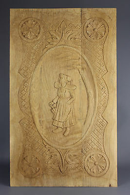 Antique Carved wood Panel 19th  Breton Art Woman