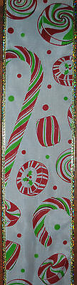 Wired Ribbon~Christmas Candy Cane~Peppermint~Mint~Red~Green~Wreath~Holiday~Bow