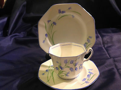 Radfords Vintage Art Deco Fine Bone China Trio - Cup Saucer and Plate Harebells