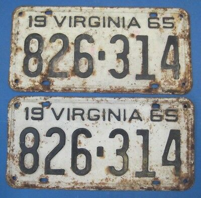 1965 Virginia License Plates Matched Pair