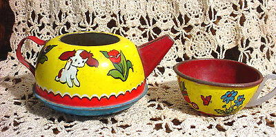 Antique Tin Toy Tea Pot Kettle + Tea Cup #173 VTG Ohio Art USA n Tea Set Dishes