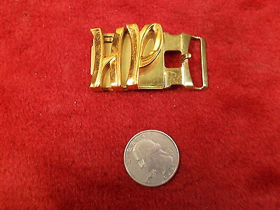 """#1 of 12, NOS SMALL OLD VTG HICKOK BRASS BELT BUCKLE, LARGE """"HP"""" SCRIPT, NM COND"""