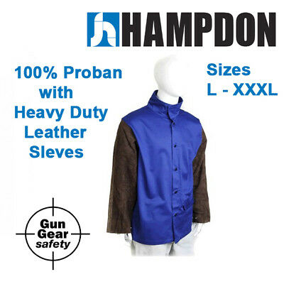Welding Jacket- Proban with Heavy Duty Leather Sleeves - L to 6XL