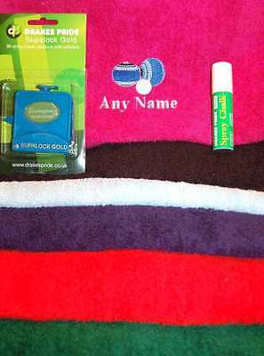 Lawn Bowls Personalised embroidery Towel String Measure Spray Chalk Gift Set