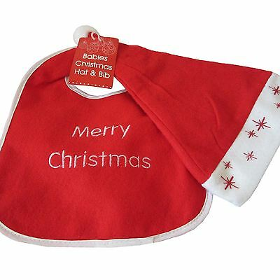 Red White Xmas Babies Santa Hat & Cute Bib Set Merry Christmas Party First Gift