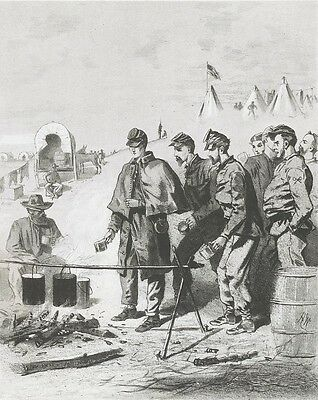 Civil War Campaign Sketch by Winslow Homer: Union Soldiers Waiting for Coffee