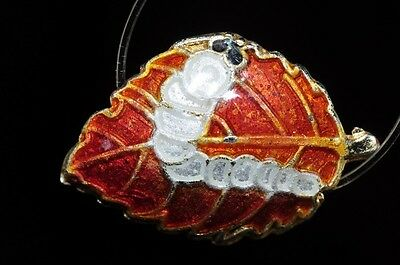One/Asian Flair~Vintage Chinese CLOISONNE Silkworm On Mulberry Leaf Bead E0862