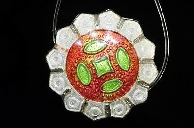 One/Asian Flair~Vintage Chinese CLOISONNE ENAMEL Edged Coin Disc Bead K0862