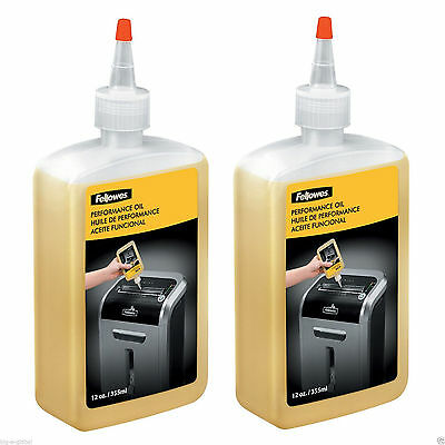 2 pk - Fellowes Paper Shredder Oil 12 oz. Bottle w/Extension Nozzle Lubricant