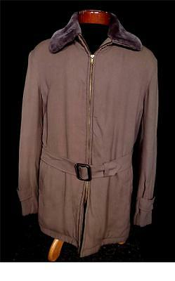 Rare Vintage 1950's Heavy Dark Brown Long Rayon Gabardine Zipper Jacket Size L
