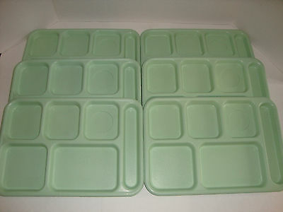 Lot of 12 Cambro BCT1014 6 Compartment Lunch Food Tray Green Cafeteria School