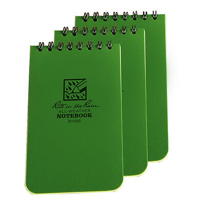 Rite in the Rain 935 Green Tactical Pocket Notebook 3-inch x 5-inch, 3-Pack