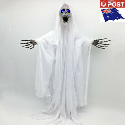 Hanging Skull Creepy Ghost 100cm W/Flashing Light up eyes Halloween Party Prop