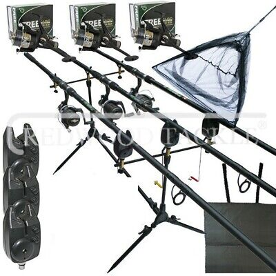 Full Carp fishing Set Complete With Rods Reels Alarms Landing Net & Tackle