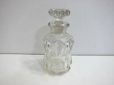 """ANTIQUE HORSERADISH JAR EPAG GLASS WITH GROUND STOPPER 6.25"""" TALL"""