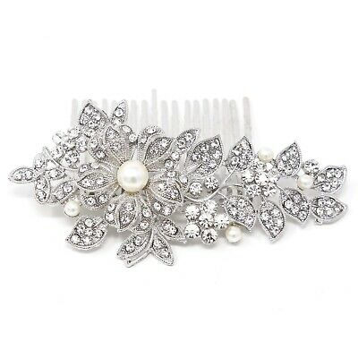 beautiful elegant wedding bridal hair comb Ivory Color pearl and crystal #1123