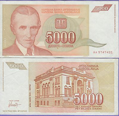 Yugoslavia 5000 Dinara Banknote 1993 Choice Extra Fine Condition Cat#128-7421