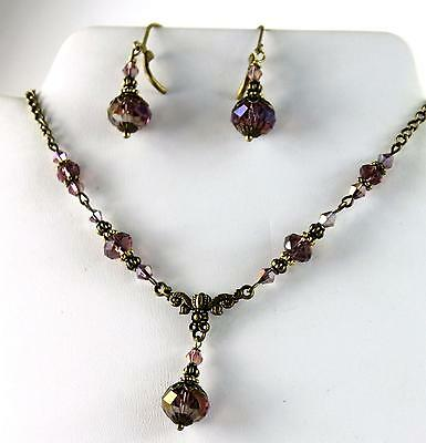 AB Purple - Vine Red Crystal Vintage Victorian Steampunk Necklace Earring Set