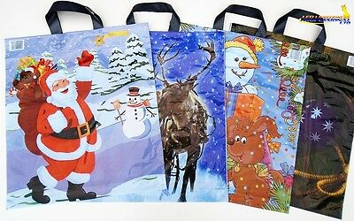"""100x Assorted Mixed Christmas Santa Claus Carrier STRONG PLASTIC Bags 16"""" x 17"""""""