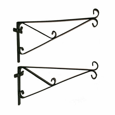 "HD Hanging basket brackets pack of 2 wire plastic 12"" 14"" 16"" 18"" 20"" pansy show"