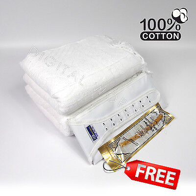 2 Piece Cotton Ihram Ehram Ahram White Towel Adult Cloth + Waist Belt Hajj Umrah
