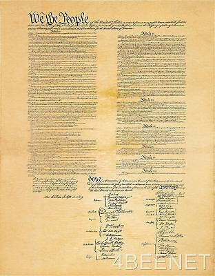 U.S. CONSTITUTION on 1 large page - rolled in tube REPLICA PARCHMENT PRINT new