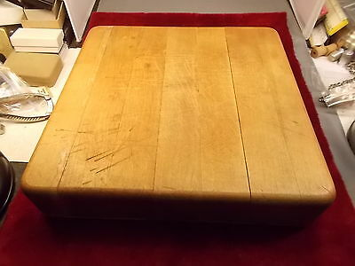 "Old Vtg Solid Wood Cutting Or Meat Block, 11"" X 11"" X 2 1/4"", Vgc, Antibacterial"