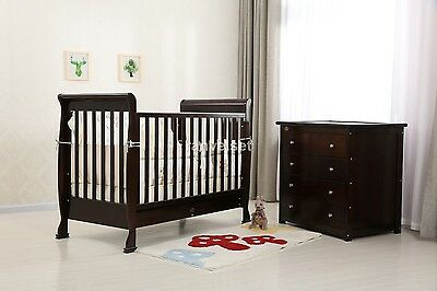 Brand New Baby Sleigh Cot Package - Cot, Chest Of Drawer & Mattress